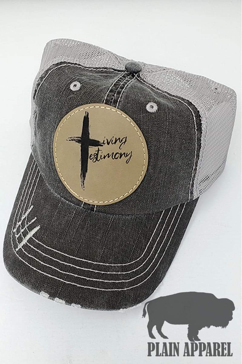 Living Testimony Engraved Patch Cap - Bless UR Heart Boutique