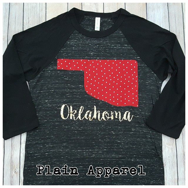 Red Dot Oklahoma Raglan - Bless UR Heart Boutique