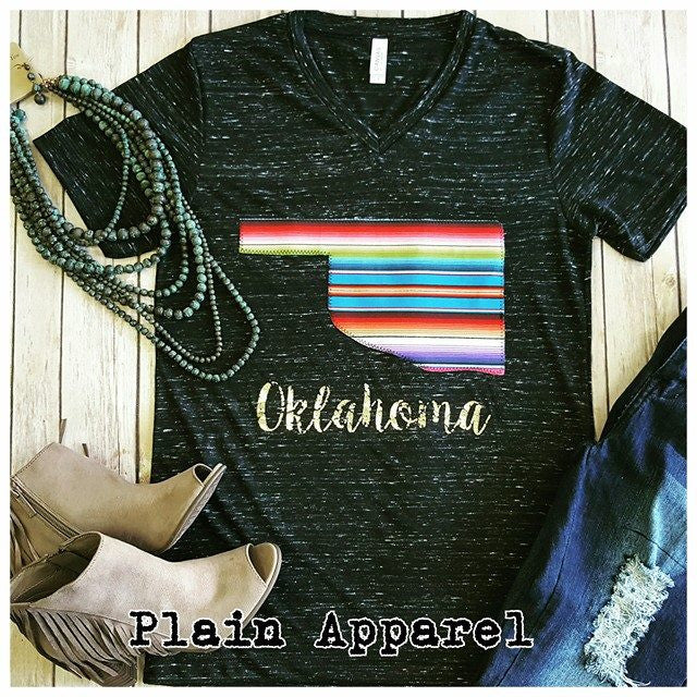 Serape Oklahoma V-Neck - Bless UR Heart Boutique