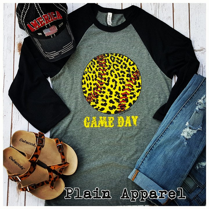 Softball Leopard Raglan - Bless UR Heart Boutique