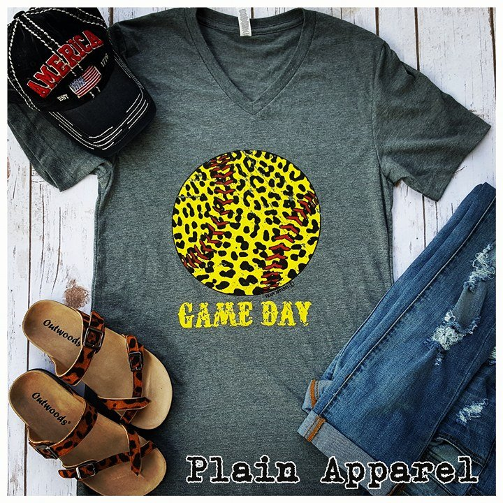 Softball Leopard Gray V-Neck - Bless UR Heart Boutique