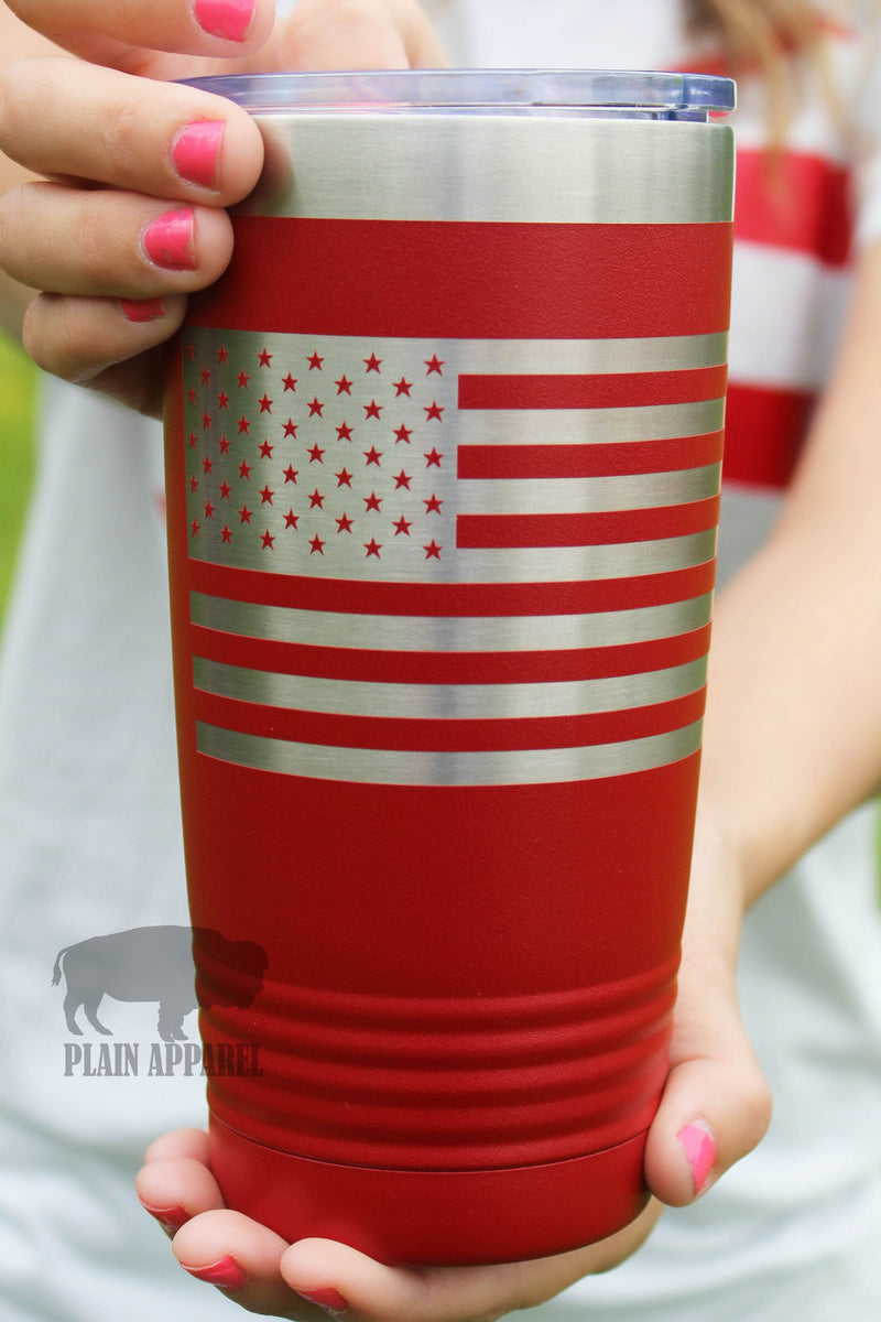 American Flag RED 20oz Tumbler - Bless UR Heart Boutique