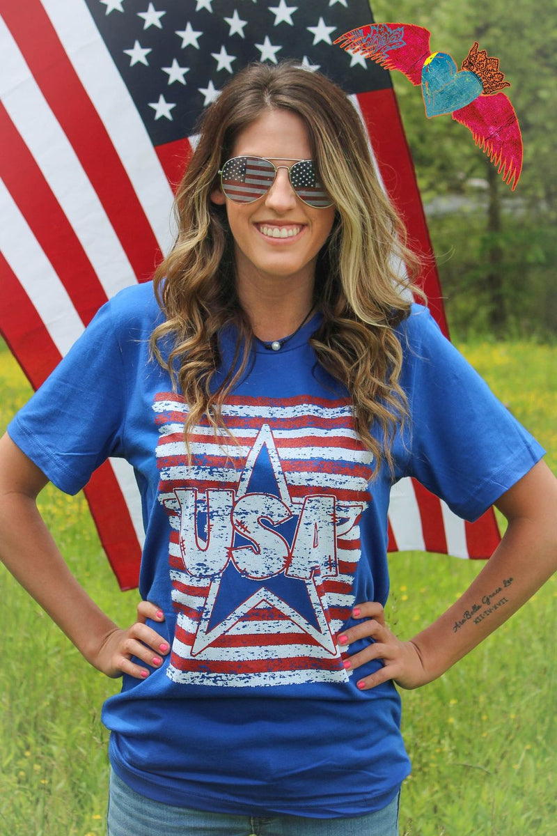 America USA Star and Stripes Tee - Bless UR Heart Boutique