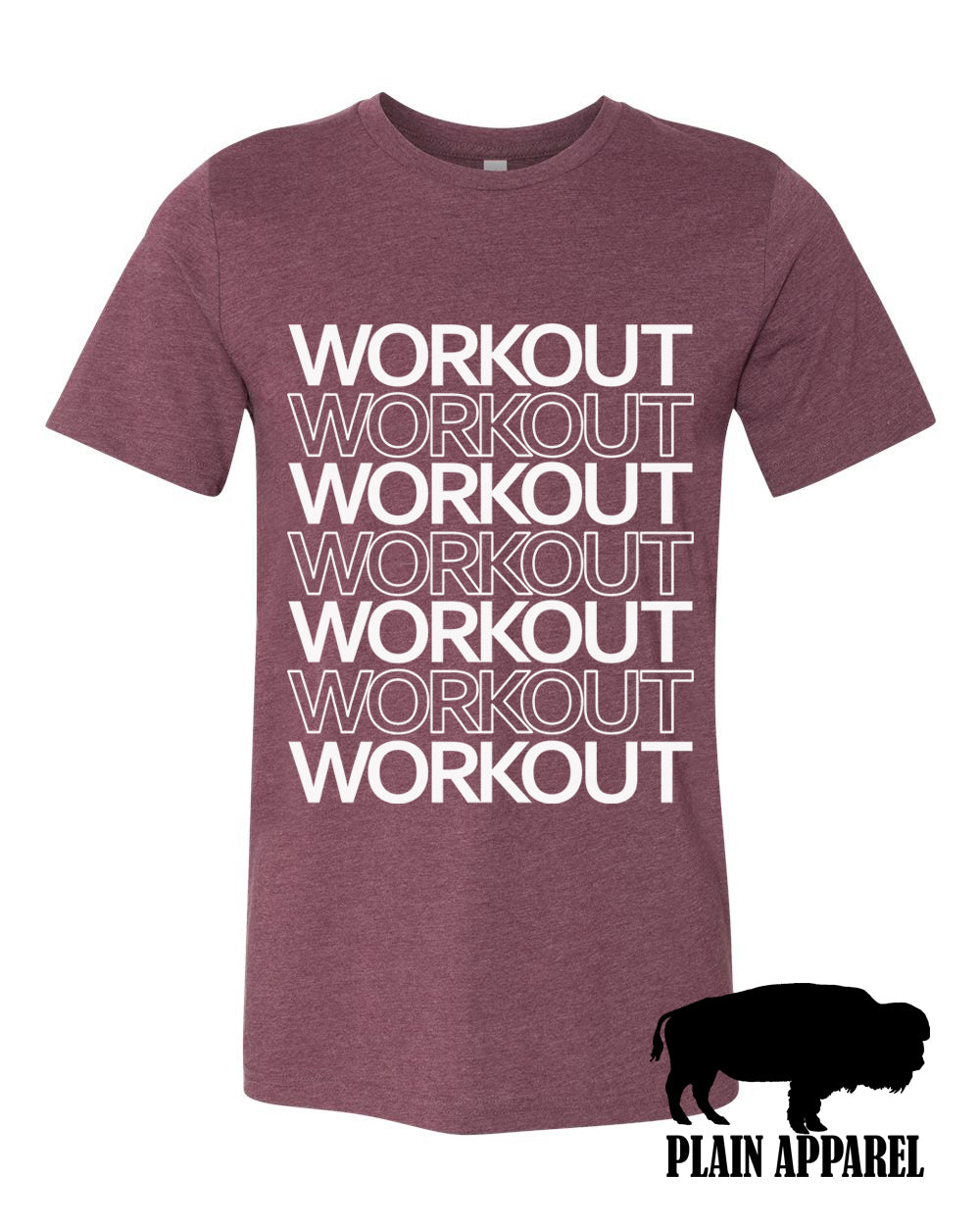 Workout Workout Workout Crew Eggplant Tee - Bless UR Heart Boutique