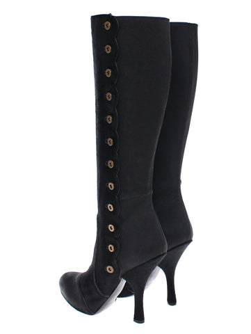 Black Fur Leather Baroque Heel Boots Shoes