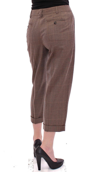 Brown Virgin Wool Checkered Cropped Pants
