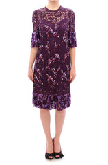 Purple floral lace crystal embedded dress