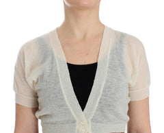 White Wool Cardigan Sweater