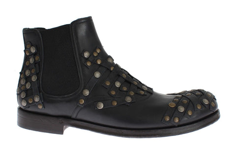 Black Leather Gold Studded Shoes Boots