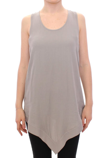 Gray Viscose Tank Top Shirt Blouse