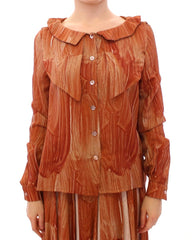 Orange Long Sleeve Button Front Blouse Shirt