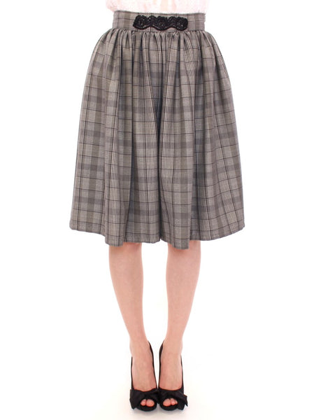 Gray Checkered Wool Shorts Skirt