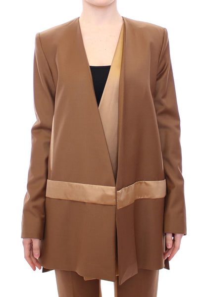 Brown Wool Silk Blazer Coat Jacket