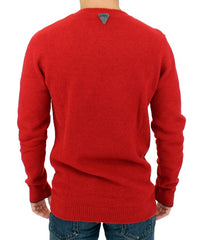 Red striped crewneck sweater