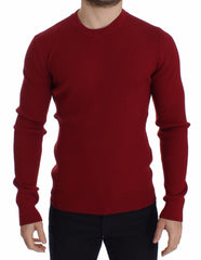 Red Knitted Wool Crewneck Sweater Pullover