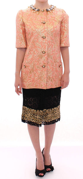 Pink Silk Brocade Crystal Jacket Coat