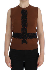 Brown Wool Black Lace Vest Sweater Top