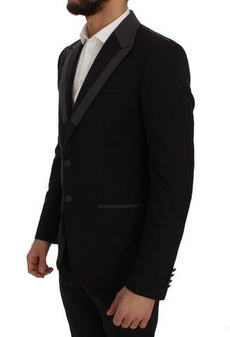 Black Wool Stretch Slim Blazer Jacket