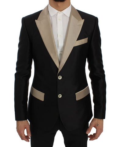 Black Beige Silk Slim Blazer Jacket