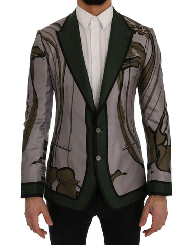 Gray Green Floral Slim Fit Blazer Jacket