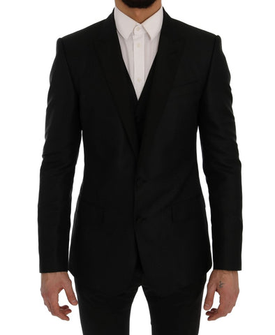 Black Blue MARTINI Silk Blazer Jacket
