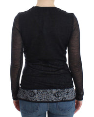 Black Wool Blend Stretch Long Sleeve Sweater