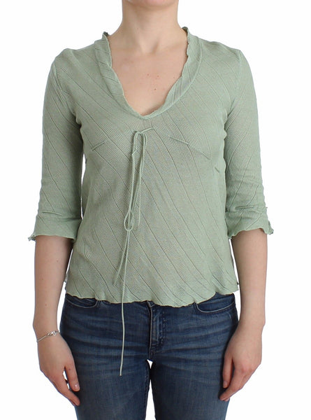 Green Lightweight Knit Sweater Top Blouse