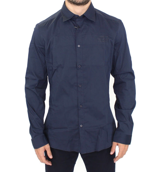 Blue Stretch Cotton Casual Long Sleeve Shirt