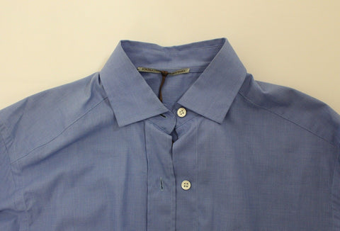 Blue Cotton Dress Classic Fit Shirt