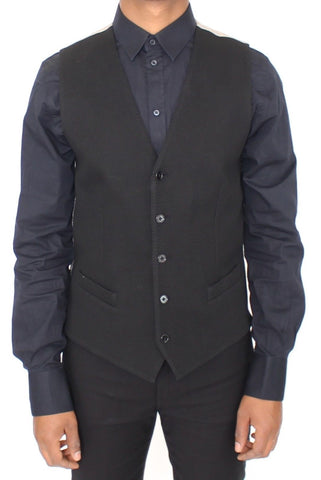Black Cotton Dress Vest Blazer Jacket