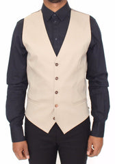 Beige Cotton Dress Vest Blazer Jacket
