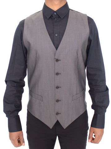Gray Wool Silk Dress Vest Gilet Jacket
