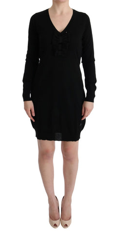 Black Wool Long Sleeve Shift Dress