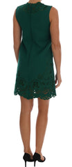 Green Floral Cutout Silk Wool Dress