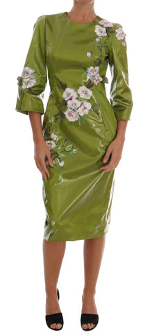 Green Pink Roses Print Sheath Dress