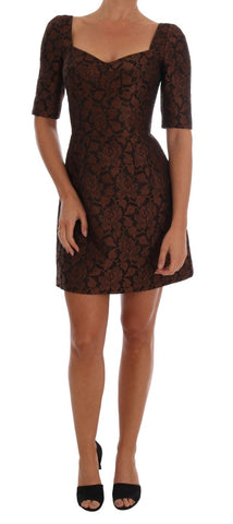 Black Brown Floral Brocade A-Line Dress