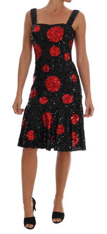 Black Red Polka Sequined Shift Dress