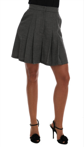 Gray Wool High Waist Mini Shorts