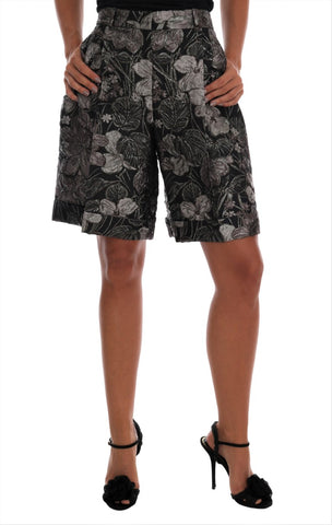 Gray Floral Brocade High Waist Shorts