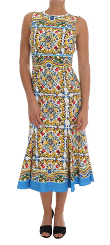 Multicolor Majolica Print Cotton Dress
