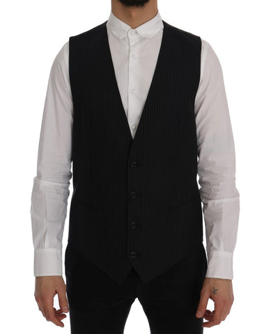 Black Wool Stretch Vest