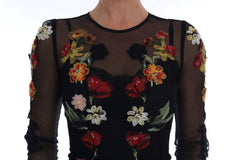 Black Floral Appliqué A-line Dress