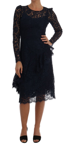 Blue Taormina Floral Lace Sheath Dress