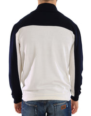 Blue White Wool Crewneck Pullover Sweater