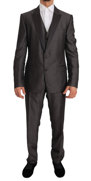 Gray Silk Wool MARTINI Slim Fit 3 Piece Suit