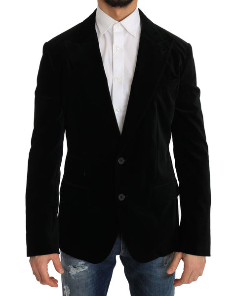 Black Velvet Single Breasted Blazer