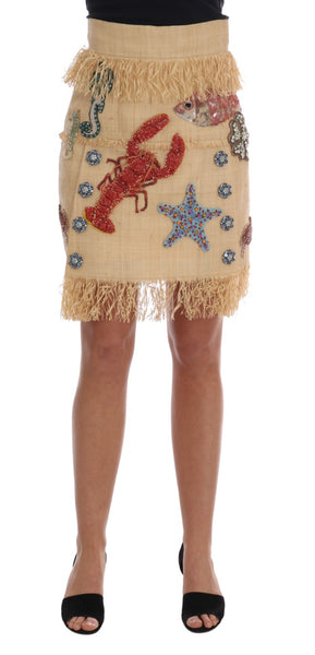Crystal Beige Palm Fiber Skirt