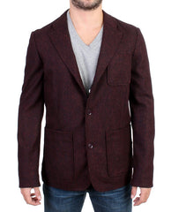 Bordeaux Wool Blend Two Button Blazer
