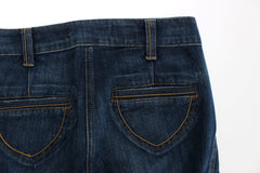 Blue Cotton Stretch Low Waist Jeans