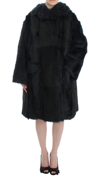 Black Goat Fur Shearling Long Jacket Coat